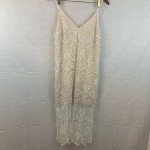 Lush White Lace Dress Spaghetti Straps